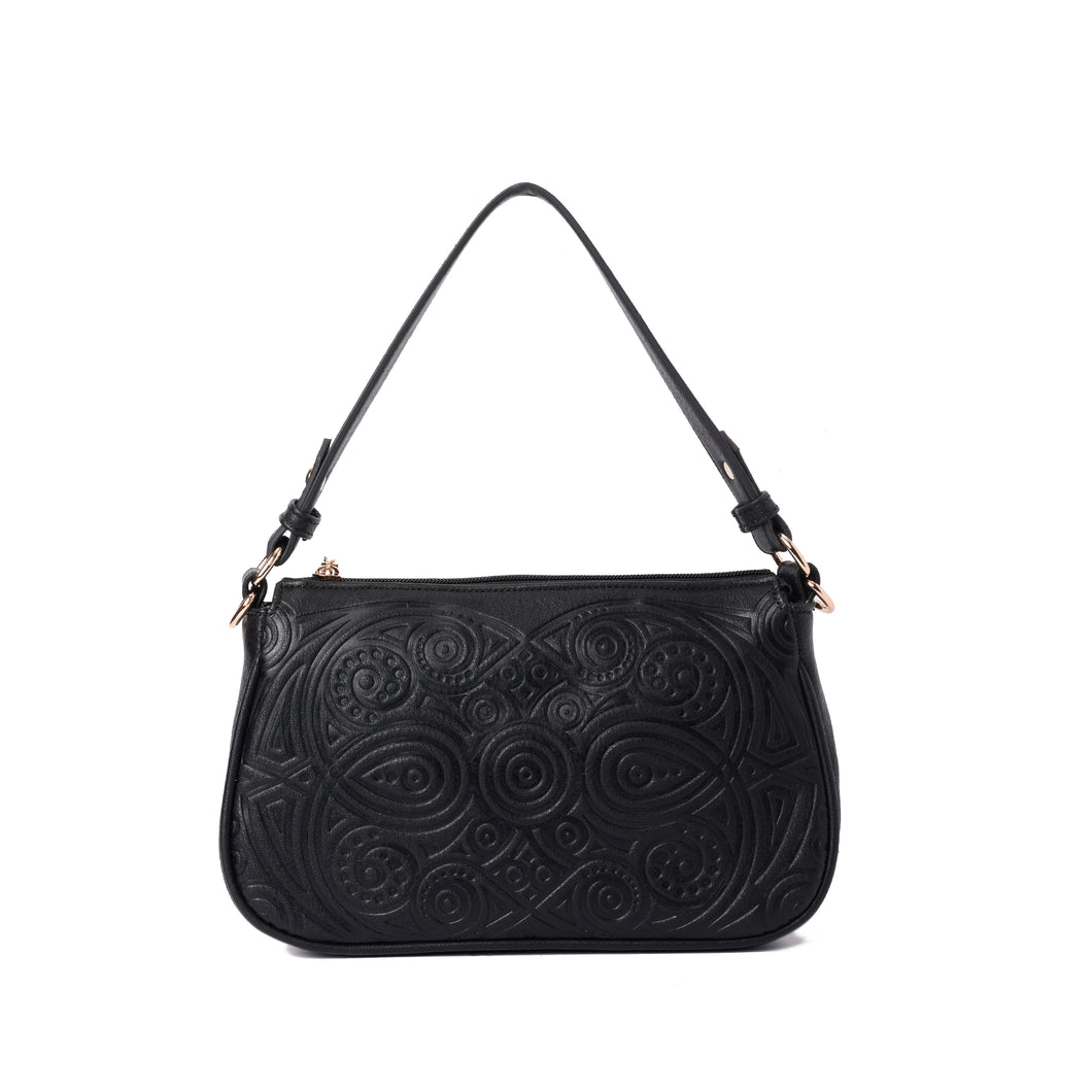 Engraved Black Hobo Handbag - Code 931