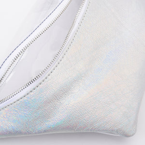 Fanny Beach bag with Metallic Silver Material- 3009