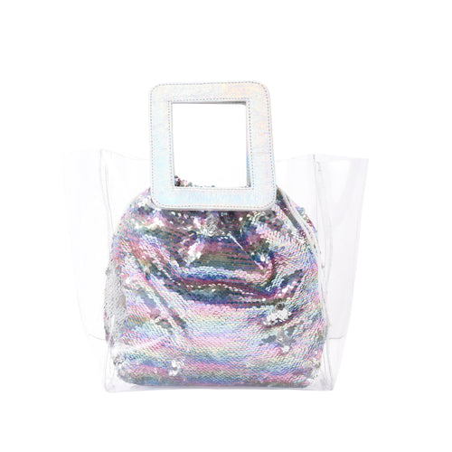 Beach Handbag with Sequin Pouch- 3002