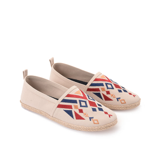 Beige Men Espadrilles with colourful embroideries -7002