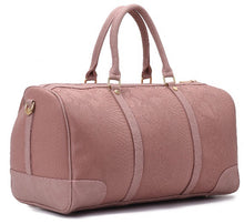Load image into Gallery viewer, Duffle Bag pink with crocodile texture leather - 309