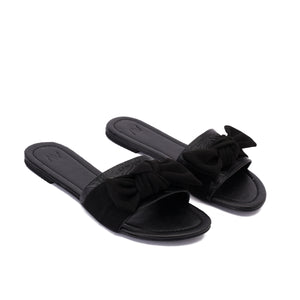 Bow Black Slippers -Code 6009