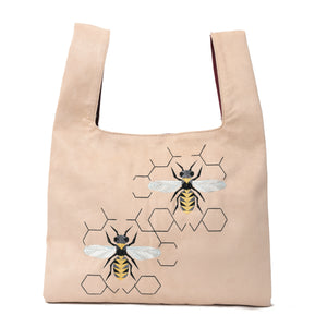Knot Beige/burgundy Handbag with Bees embroidery - Code 920