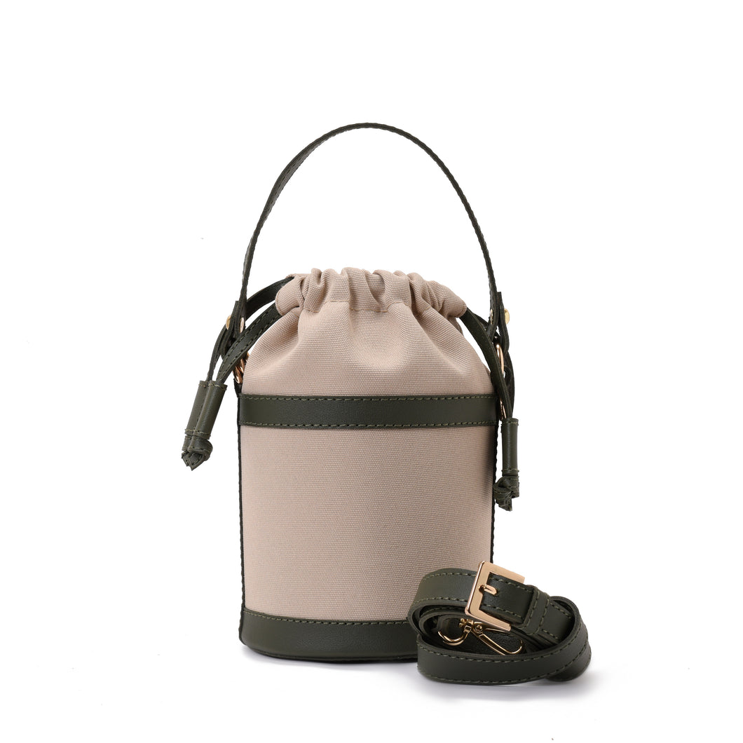 Retro bucket Beige Handbag with Green belt -Code 911