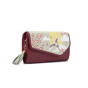 Japanese Crane Burgundy V clutch Bag - Code 732