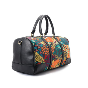 African duffle with embroidered multi coloured leather -311