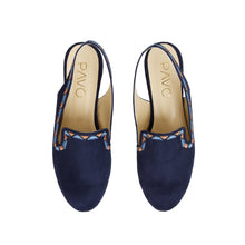 Load image into Gallery viewer, Sira Navy shoes with Colourful embroideries border-6001