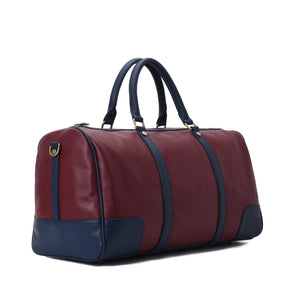 Duffle Bag unisex Burgundy & Navy leather - 312