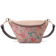 Load image into Gallery viewer, Indian Fanny pack -Beige with flowery pattern Code 1008
