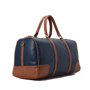 Duffle Bag unisex Navy and Brown leather-313