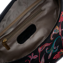 Load image into Gallery viewer, Fanny pack - Black leather with colorful Flowers- Code 1006