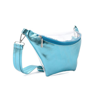Fanny Beach bag with Metallic Baby Blue Material-3006