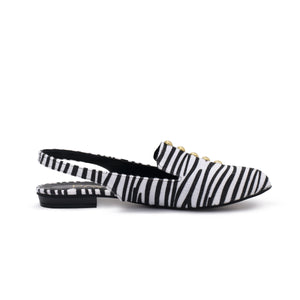 Sira shoes with Black and white fabric-6000