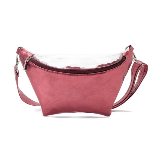 Fanny Beach bag with Metallic Maroon Material-3007