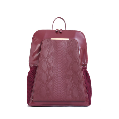 Diaper bag - Burgundy with Burgundy Crocodile texture pocket - 206