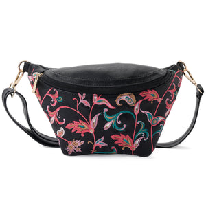 Fanny pack - Black leather with colorful Flowers- Code 1006