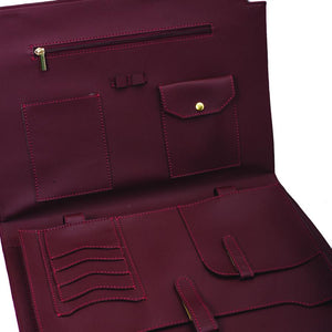 Burgundy Laptop File Bag with embroideries flowers - Code 2201