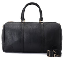 Load image into Gallery viewer, Duffle Bag  Black with a crocodile texture leather - 301