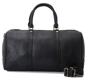 Duffle Bag  Black with a crocodile texture leather - 301