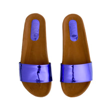 Load image into Gallery viewer, Blue metallic Mirror Slippers -Code 5001