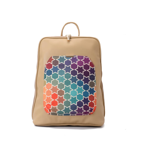 Laptop Beige with Colorful stars fabric Backpack/Cross - Code 2006
