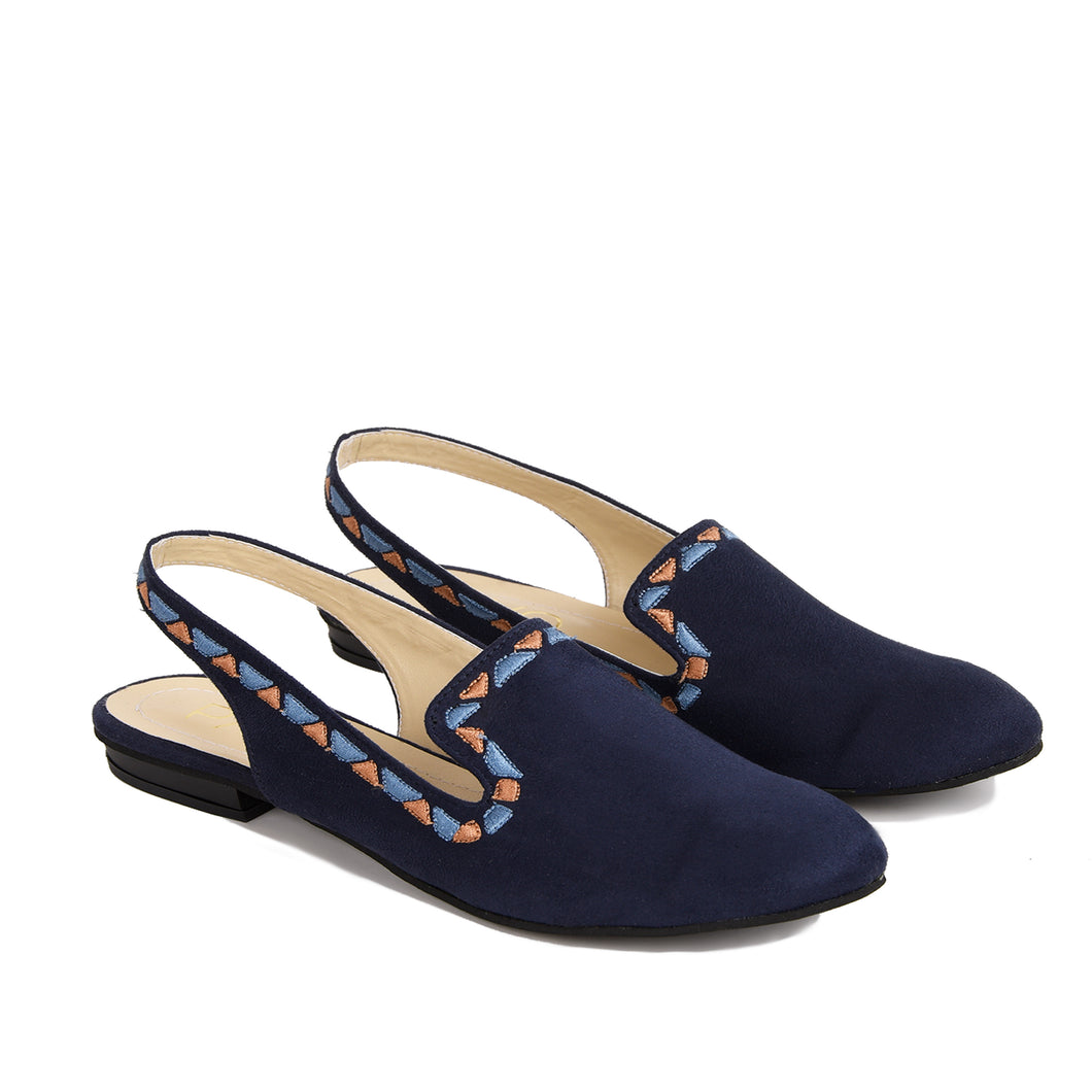 Sira Navy shoes with Colourful embroideries border-6001