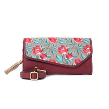 Load image into Gallery viewer, Russian Roses Burgundy V clutch Bag - Code 731
