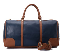 Load image into Gallery viewer, Duffle Bag unisex Navy and Brown leather-313