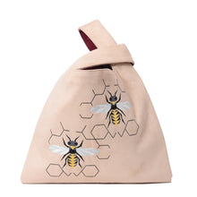 Load image into Gallery viewer, Knot Beige/burgundy Handbag with Bees embroidery - Code 920