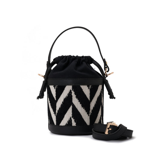 Retro bucket Black and white Handbag with Black belt -Code 913
