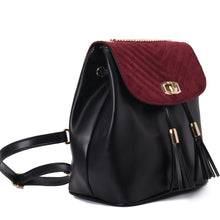 Load image into Gallery viewer, Quilted Black &Burgandy Backpack- Code 805