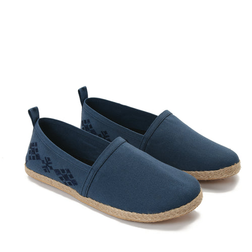 CNavy men Espadrilles with navy embroideries -7005