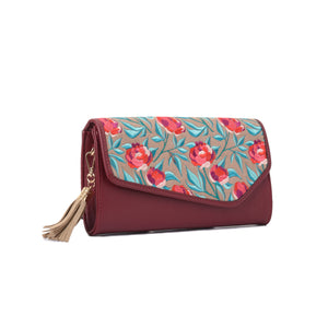 Russian Roses Burgundy V clutch Bag - Code 731