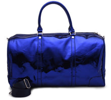 Load image into Gallery viewer, Metallic blue Duffle Bag leather -306
