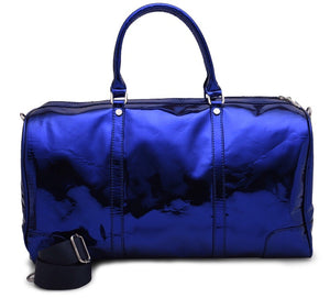 Metallic blue Duffle Bag leather -306
