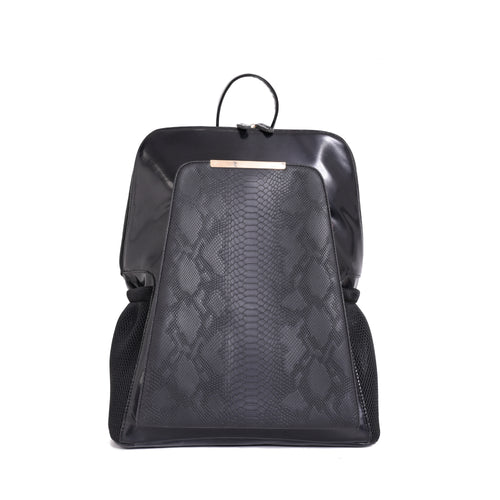 Diaper bag - Black with Black Crocodile texture pocket - 205