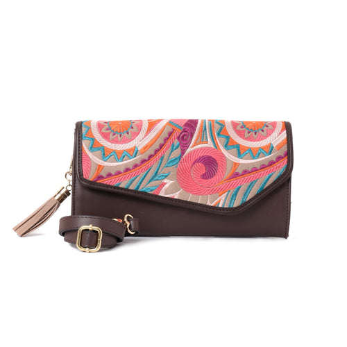 Boho Thai Brown V clutch Bag - Code 735