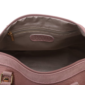 Duffle Bag pink with crocodile texture leather - 309