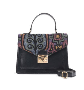 Black Handbag with Colourful fabric-Code 903