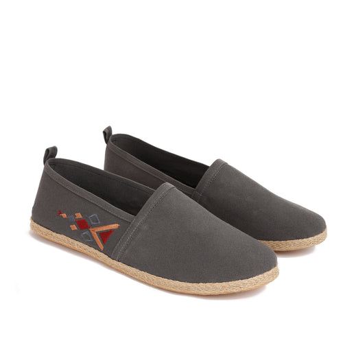 Grey men with colourful embroideries Espadrilles-7000
