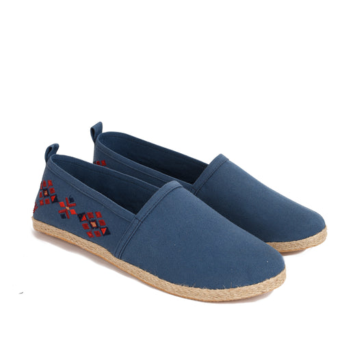 Navy men Espadrilles with colourful embroideries -7001