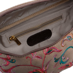 Indian Fanny pack -Beige with flowery pattern Code 1008