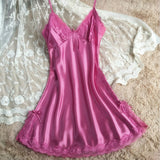 New Fashion Women High Quality Sexy Faux Silk Satin Night Gown