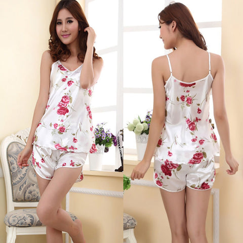 Womens Rose Flower Sleepwear Pajamas