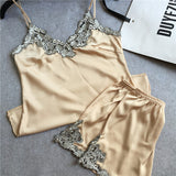Silk Satin Lace  Pajama Set