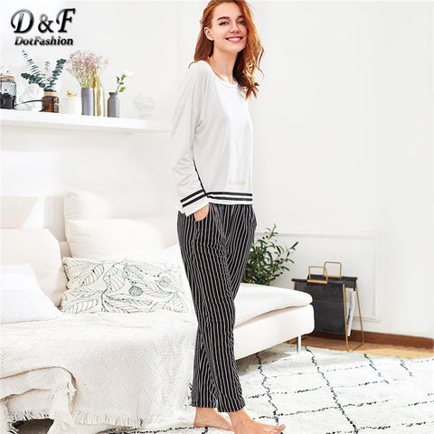 Striped Long Casual Black and White Pajama Set