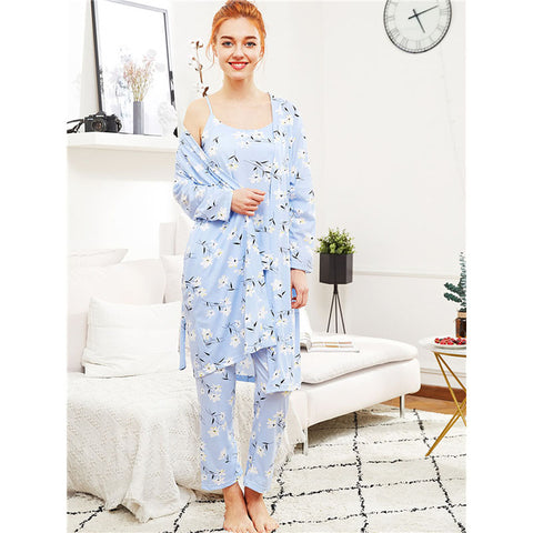 Calico Print Cami Pajama Set With Robe