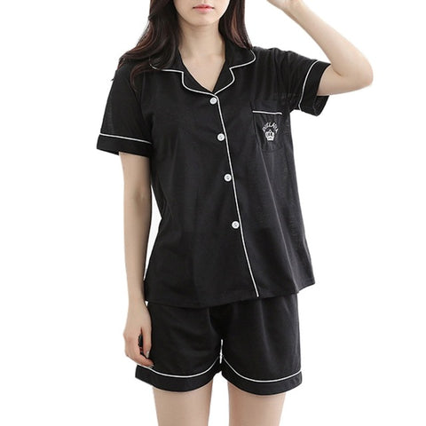 Women's Satin Pajamas Set Pocket Lapel Nightgown