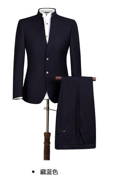 select for authentic world-wide free shipping new style & luxury PYJTRL New S-4XL Men Chinese Tunic Collar Bridegroom Suit Formal Wear Dress  Slim Fit Suits Groom Blazer Pants Homme