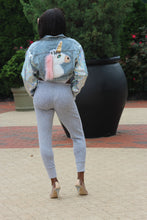 Load image into Gallery viewer, Unicorn Glam Denim Crop Jacket